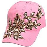 Herren Mädchen Pailletten Blume des Schmetterling Baseball Cap Cap Gr. Einheitsgröße, Femme fleur rose