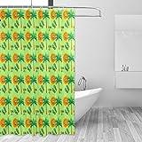 COOSUN Tropical Smiley Face Print Duschvorhang, Polyester-Gewebe Duschvorhang, 66 x 72-inch 66x72 Mehrfarbig