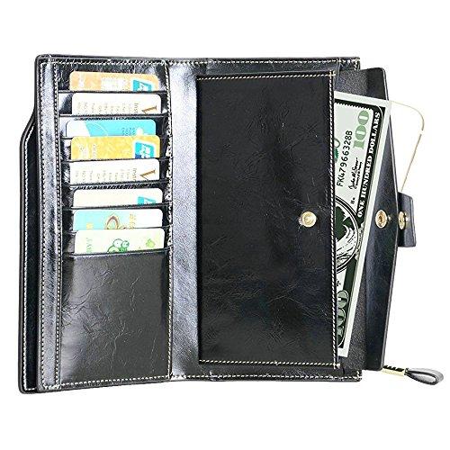 Vintage Geldbörse, Canvalite Elegant Unisex Damen Herren multifunktional Portemonnaie mit Kartenhalter, Rindsleder, lang für Freizeit Reise Business schwarz