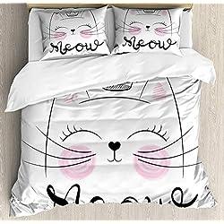 TAPIDNO Juego de Ropa de Cama 3 Piezas Juego de Funda nórdica de Gato Meow Calligraphy Princess Kitten with a Crown Hand Drawn Decorative 3 140 * 200cm