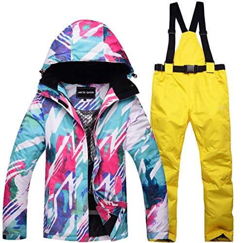 WAVENI Senderismo al Aire Libre Traje de Nieve para Mujer Chaqueta de esquí de Invierno y Pantalones Conjunto de Traje de Nieve (Color : 03, Size : M)