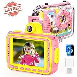Appareil Photo Enfant Numérique Caméra pour Enfant, Caméras vidéo Action 1080P imperméables à l'eau Selfie Digital 8.0MP- Grand écran de 2,4 Pouces avec éclairage d'appoint, Rose