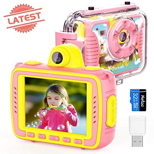 Oiiwak Kinderkamera, Geschenk für 4-12 jährige Mädchen 8MP 1080P Wasserdicht Digitalkamera Stoßfest Action Kamera Selfie Kamera mit 32G Speicherkarte+TF Kartenleser für Geburtstag Fest Weihnachten