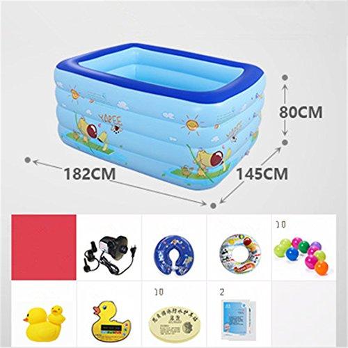 YUGNG Verdicken Sie Umweltfreundliche PVC-Familienkinder Schwimmen Gefaltete aufblasbare Quadratische Babybadewanne Pool Spielzeug Pool 182 * 145 * 80 cm Elektrische Pumpe für 0-7 Jahre Alt
