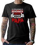 HARIZ  Herren T-Shirt Papa Collection 36 Designs Wählbar Schwarz Vatertag Weihnachten Männer Geschenk Karte Urkunde Papa35 Ich Komme Nach Meinem Papa XXL