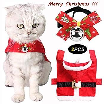 legendog Noël vêtements de Chat pour Animaux de Compagnie, 2PCS Mignon Réglable vêtements de Chat de Noël Vêtements de Noël à Capuchon de Chat de Noël + Noël Pet Bell Bow tie