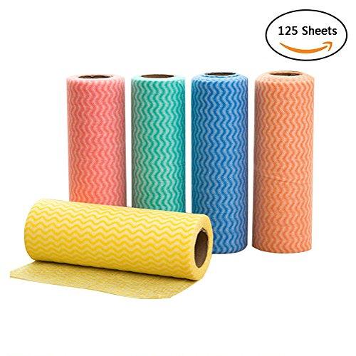 Kuke Mikrofaser Reinigungstuch Rolle Bambusfaser Fusselfrei Küchenputztuch Geschirrtücher Vliesstoffe, Ein Set mit 5 Rolle ,Mehrfarbig (20*7 cm / 7.87*2.76 Zoll) (Mehrfarbig) (5 Wohnzimmer Leder Stück)