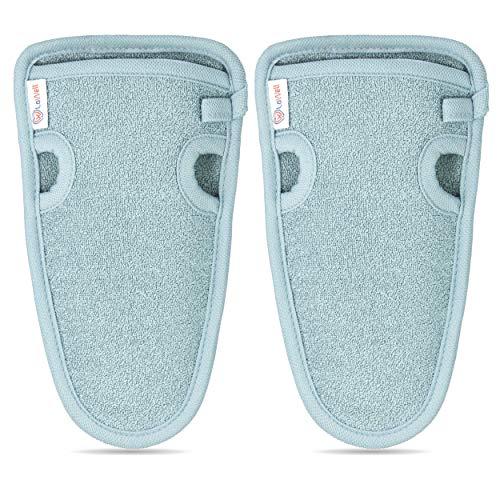 LoWell® ❤ - Peelinghandschuh rau (2 Stück) + BONUS Saugnapf - LUXUS für deinen Körper - Peeling und Wellness Handschuh - Dusch Schwamm Body - Hamam Handschuhe Gesicht (Grau)