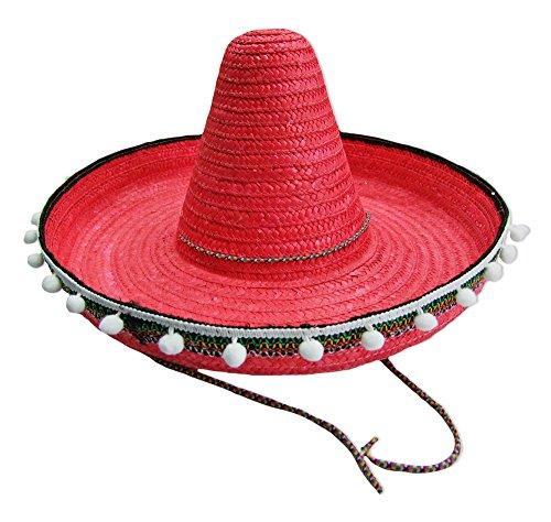 Kostüm Sombrero - Mexikaner Sombrero mit Troddeln - 50 cm Durchmesser - Rot - Toller Mexiko Hut für Erwachsene zum Kostüm