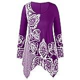 Lucky Mall Damen Plus Size O-Neck Print Bluse,Bluse Damen Langarm Einfarbig Elegante Tunika Casual Top