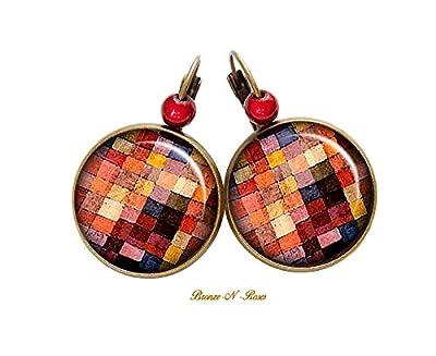 Boucles d'oreilles Peinture carreaux Klee cabochon bronze bijou paul tableau cadeau dormeuses bronze-n-roses