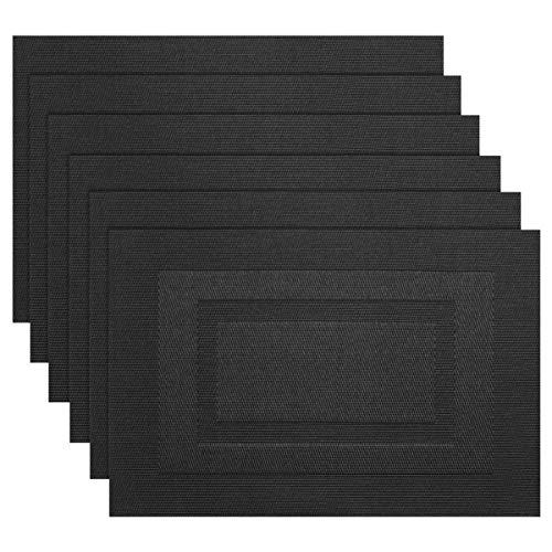 SHACOS Set 6 Manteles Individuales Negro Lavable PVC