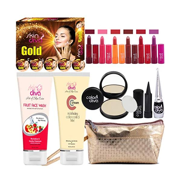 Adbeni Combo Makeup Set Multicolor Lipstick and eyeliner With Kajal And Gold Facial Kit 80gm Pack of 16