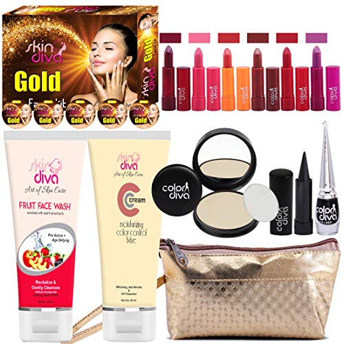 Adbeni Summer Vacation Combo Offer Makeup Set Orange Lipstick 4pc, Lipgloss 1pc, Kajal 1pc, Eyeliner 1pc, Compact 1pc (Assorted), Eyeshadow 1pc