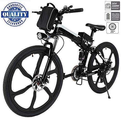 """Hiriyt 26\"""" Bicicleta eléctrica de montaña, 250W, Batería 36V E-Bike Sistema de Transmisión de 21 Velocidades con Linterna con Batería de Litio Desmontable con Tres Modos de Trabajo (26\"""" Black_1)"""