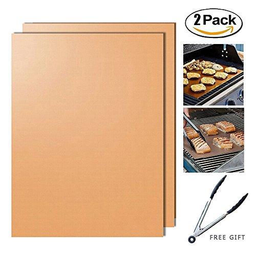 Grillmatte,Hitueu Set von 2 Antihaft-Durable BBQ Grill & Backmatten FDA genehmigt wiederverwendbar und einfach zu reinigen PFOA freie Arbeiten auf Gas, Holzkohle, elektrische Grills schwarz / Kupfer