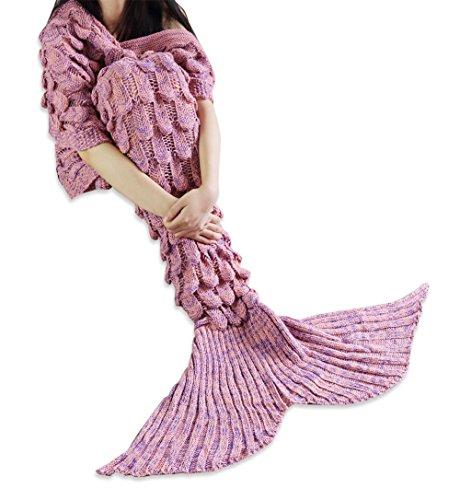 FEESHOW Kinder/Erwachsene Meerjungfrau Flosse Decke Tagesdecke Kuscheldecke Wohndecke mit schönem Schwanz für Bett Sofa Schlafzimmer Wohnzimmer Koralle Erwachsene