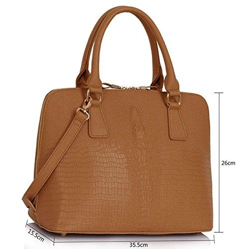 TrendStar Damen Croc Schultertasche Große Damen Handtaschen Neue Entwerfer Promi Art Trage Nude Croc Taschen