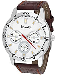 Howdy Smart Analog White Dial Watch With Leather Strap - For Men's & Boys Ss511