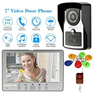 KKmoon 7 Inch Wired Video Door Phone System Visual Intercom Doorbell with 1 Indoor Monitor + 1*700TVL Outdoor Camera + 6*RFID Card + 1*Remote Control Night Vision DoorBell Intercom