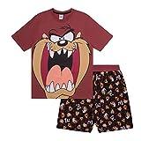 Looney Tunes - Herren Schlafanzug - kurz - mit Space Jam, Taz, Daffy Duck oder Elmer Fudd - Offizielles Merchandise - Braun - Taz - L