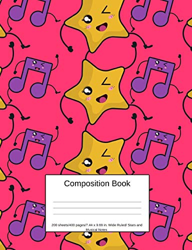 Composition Book 200 sheets/400 pages/7.44 x 9.69 in. Wide Ruled/ Stars and Musical Notes: Writing Notebook | Lined Page Book Soft Cover | Plain Journal | Musical Instrument (Volume, Band 8) - Mädchen Standard Star