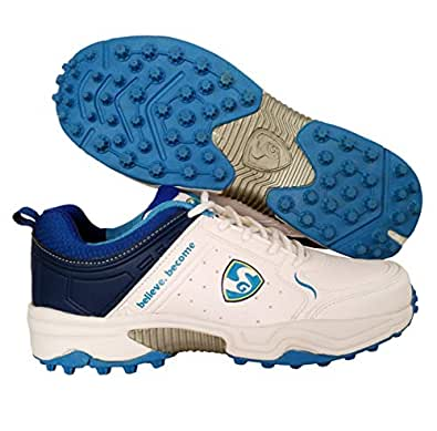 SG Latest Superior Cricket Shoes with Rubber Spikes for Men - 6 UK (White/Aqua)