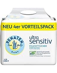 Penaten Ultra Sensitiv Feuchttücher parfümfrei / Tücher ohne Alkohol und Parfüm für hochsensible Babyhaut / Auch für Allergiker geeignet / Vorteilspack: 4x56 Stück