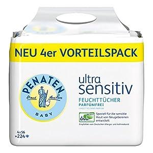 Penaten Ultra Sensitiv Feuchttücher Parfümfrei, 4er Pack (4 x 56 Stück)