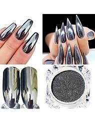 DIY Nail Art SOMESUN Spiegel Glitter Nail Glitzerpuder Nagelkunst Spiegel Nagellack Überzug (silber)