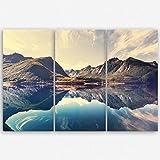 ge Bildet hochwertiges Leinwandbild XXL Naturbilder Landschaftsbilder - Norwegische Berglandschaft - Norwegen Bild Natur Berg See - 120 x 80 cm mehrteilig ( 3 teilig )| Wanddeko Wandbild Wandbilder Wohnzimmer deko Bild | 2212 L