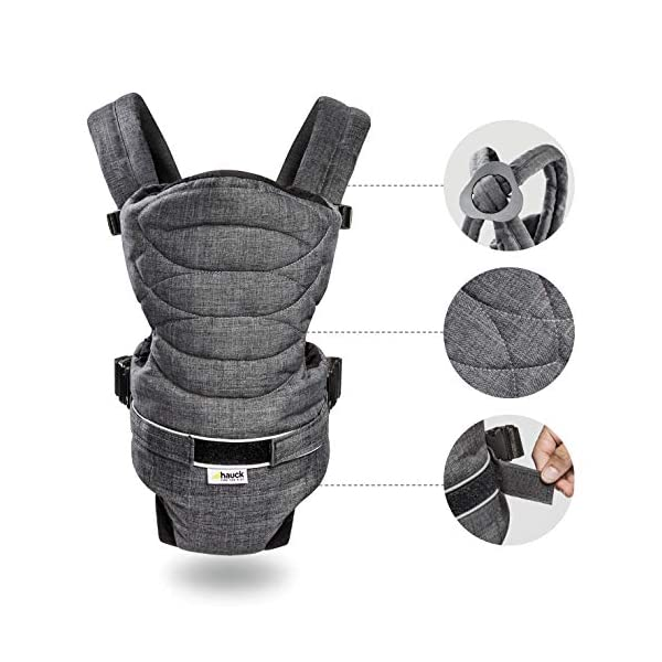 Hauck 2 Way Carrier, Ergonomic Baby Carrier Newborn to Toddler from Birth up to 12 kg, Softly Padded, Two Carrying Possibilities, High Level of Carrying Comfort, Melange Charcoal Hauck 2 carrying possibilities on the front Reinforced head and back area Safe and ergonomic baby carrier 5