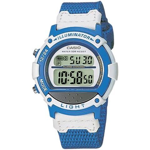 Casio CASIO Collection - Reloj digital unisex de cuarzo con correa textil azul (cronómetro, alarma, luz) - sumergible a 50