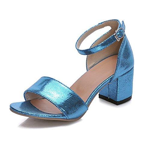 VogueZone009 Donna Punta Aperta Tacco Medio Pelle Di Maiale Puro Sandali Azzurro