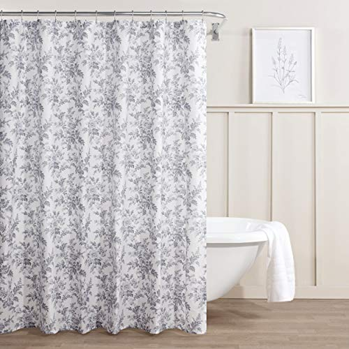 Laura Ashley Bad (Laura Ashley Annalise Floral Duschvorhang, Baumwolle, Medium Gray, 72 x 72)