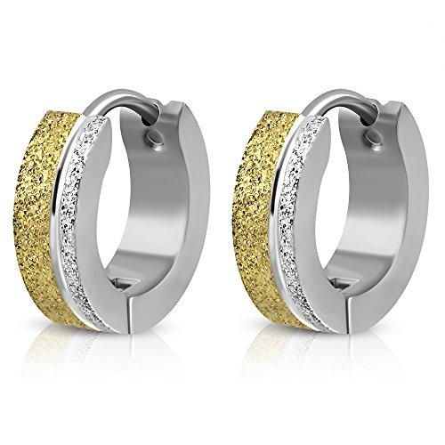 bungsa® a cerchio argento sandblasted Gold 4mm-1coppia di orecchini cerchio Acciaio Inossidabile (orecchini Huggies orecchini pendenti a gioielli orecchini placcati uomo donne donna mode)