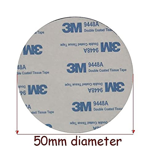 BLACK Circles 3M EVA FOAM PADS ~ 50mm in Diameter x 2mm Thick ~ Double Sided Round Tape ~ Model 9448A (2 Individual