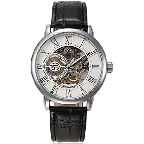 Sannysis reloj de pulsera esqueleto masculino de acero inoxidable (04)