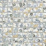 Retro Vintage Mosaik Fliese Keramik weiß Blumen Spring Flower WB18C-1401 für WAND BAD WC DUSCHE KÜCHE FLIESENSPIEGEL THEKENVERKLEIDUNG BADEWANNENVERKLEIDUNG