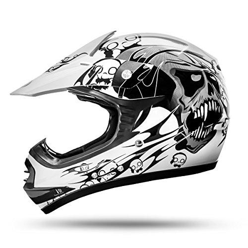ATO-Moto Skulletti Weiß Größe Y-L 53/54cm Kinder Motocrosshelm mit neuster Sicherheitsnorm ECE 2205