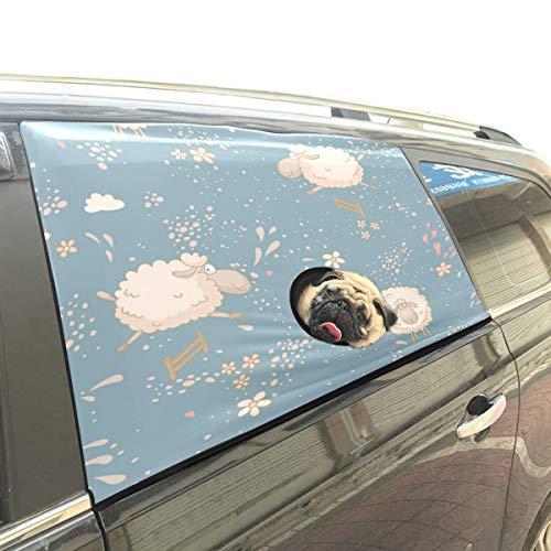 Nettes Kind Lieblings Tier Schafe Haustier Hund Sicherheit Auto Gedruckt Fenster Zaun Vorhang Barrieren Protector Für Baby Kind Einstellbare Flexible Sonnenschutz Abdeckung Universal Fit Für Suv -