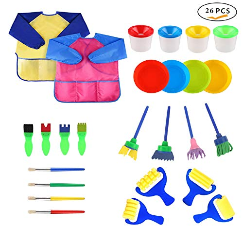hirsrian 26 Pieces Kid Paint Sponge Brushes Foam Drawing Tool Early Education Aids, Plastic Palettes, Long Sleeves Waterproof Artist Apron for Children Sharing Painting