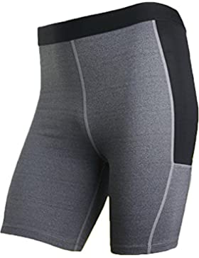 Jeansian Hombres Compression Pantalones Cortos Baselayer Dry Deportes Tights Gym Fitness Jog Pants SMF026