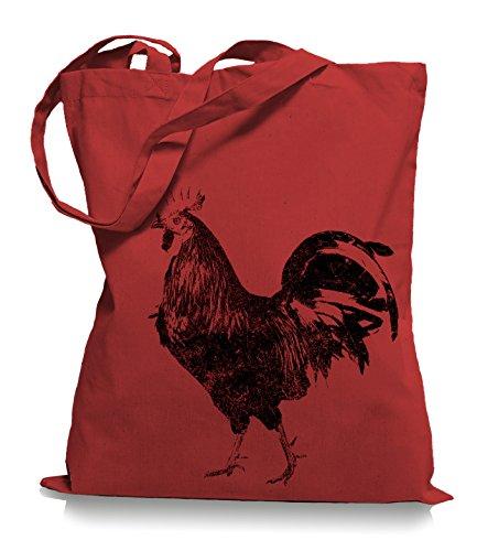 Ma2ca® Schwarzer Hahn Stoffbeutel Einkaufstasche Tasche Tragetasche / Bag WM101 Classic Red