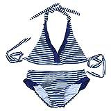 iiniim Ragazza Bambina Costume da Bagno a Righe Bikini a Due Pezzi Stripe Tankini Swimwear Top Halter Navy Blu 8-16 anni blu 10 anni
