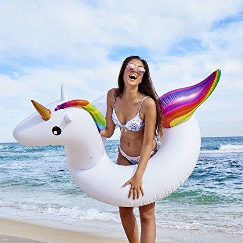 FiYenn Einhorn-Schwimmring,175cm Aufblasbares Schwimmtier, Badetier, Riesen Luftmatratze,Passend für Kinder und Erwachsene