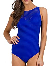 f4ebedf431440 Shujin Damen One Piece Netz Push Up Strand Badeanzug Bikini Set transparent  Monokini Badeanzüge Riemchen Einteiler