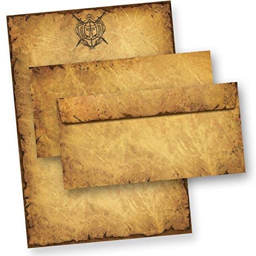 TATMOTIVE 05-0134-0092-00025 Altes Briefpapier Set Ritter Wappen (25 Sets) A4, 90 g/qm, Briefpapiermappe, 25 Briefpapiere + 25 Umschläge