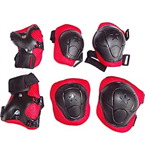 Kids' Scooter Biking Skate Protective Knee Pads, Eruner Sports Safety Kneepads Elbow Pads Palm Wrist Guards Outdoor Gear for Skateboarding Rollerblading Set with 6 Pack