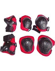 Kids Roller - Juego de protecciones para niños de 3–6años, para patinaje en línea, para muñeca, Codo, rodilleras, muy gruesas, Protector para deportes, Ciclismo, patinaje, 6unidades, rojo & negro